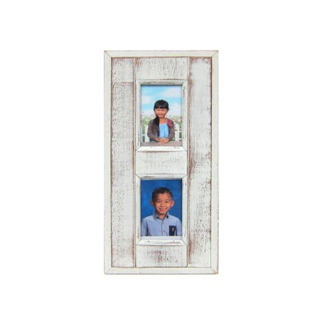 "Handmade Recycled Wood Distressed Picture Frame - 4"" x 6"" (Thailand)"