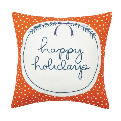 Happy Holidays Canavs Printed Pillow