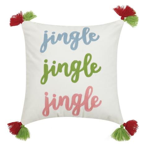 Jingle Jingle Jingle Crewl Tassels Pillow