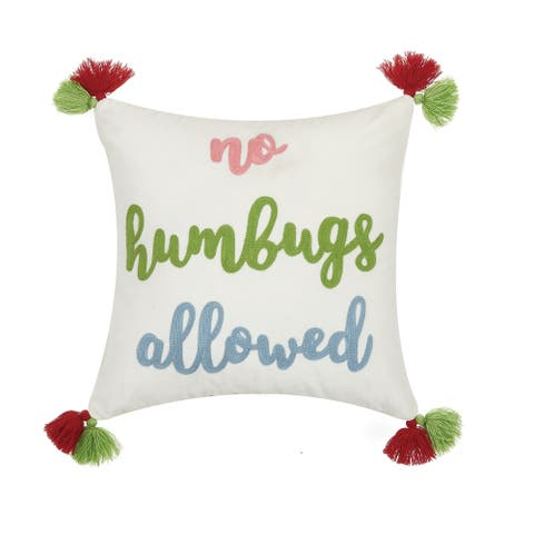 No Humbugs Allowed Crewel Tassels Pillow