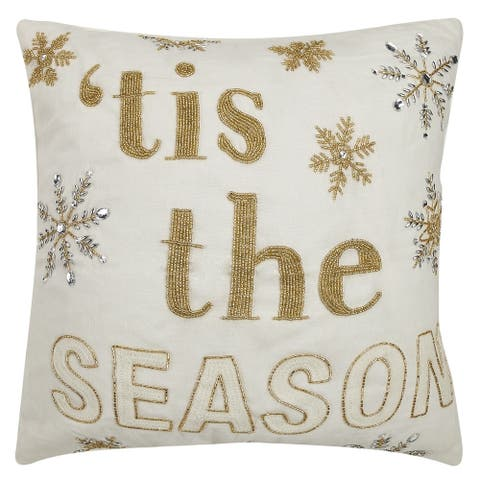 Tis The Season Embroidered Pillow