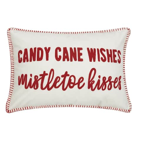 Candy Cane Wishes Crewel Pillow