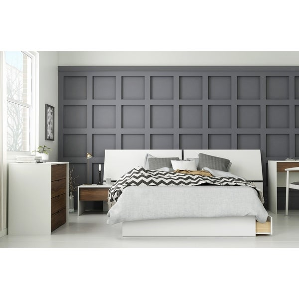 Modus 4 Piece Bedroom Set Walnut White Free Shipping Today 28221780