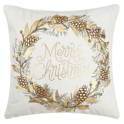 Merry Xmas Pinecone Wreath Embroidered Pillow