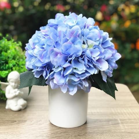 Enova Home Silk Hydrangea Flower Arrangement in White Ceramic Vase For Home Office Decoration