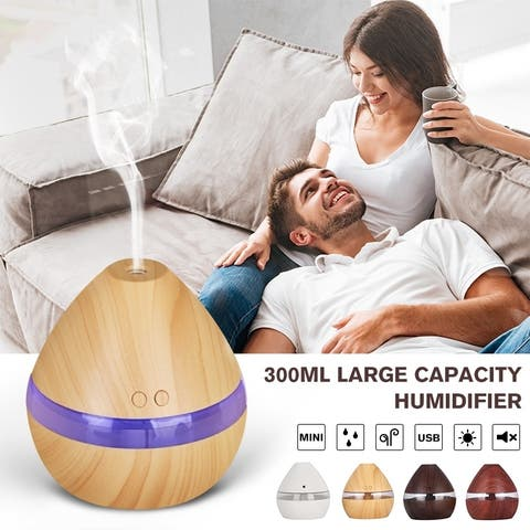 300ML Large Capacity Humidifier with LED Light Aromatherapy Essential Oil Diffuser Powered by USB Charging