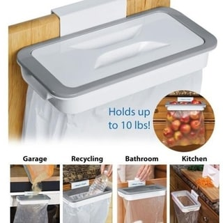 Trash Bag Holder Organizer Kitchen Garbage Hook Over Cabinet Wastebasket Trash Can Basket Holder Hanging Storage Rack