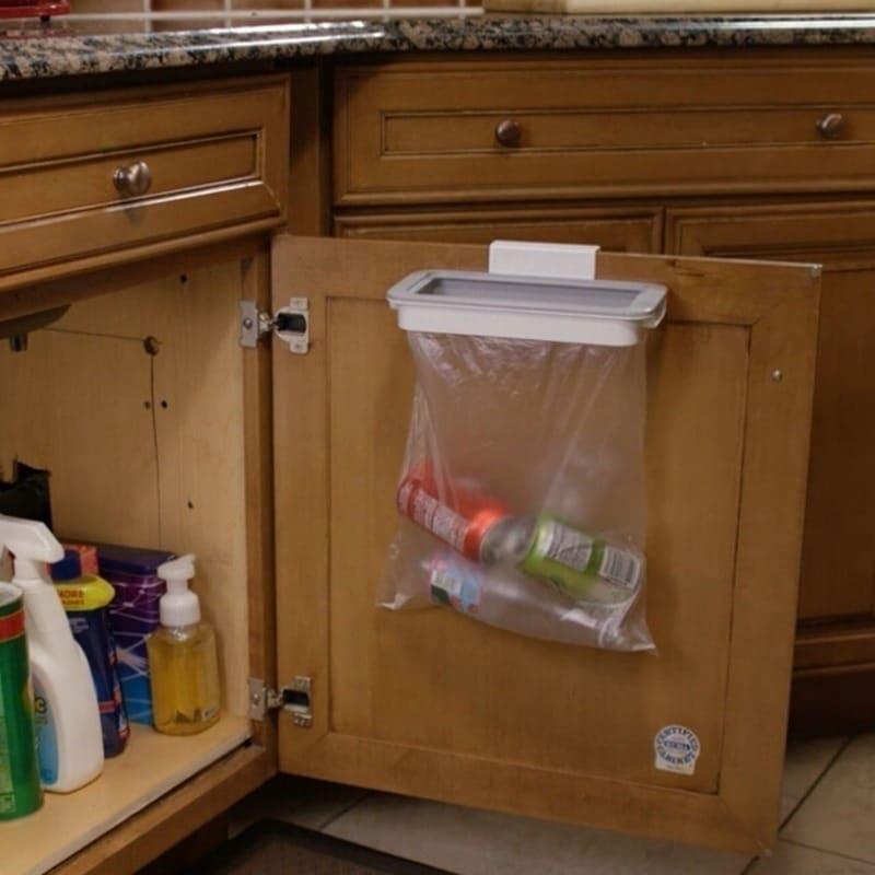Trash Bag Holder Organizer Kitchen Garbage Hook Over Cabinet Wastebasket Trash Can Basket Holder Hanging Storage Rack On Sale Overstock 28225387
