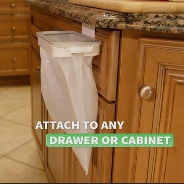 Shop Trash Bag Holder Organizer Kitchen Garbage Hook Over ...