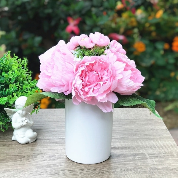 Enova Home Pink Silk Peony Flower Arrangement in White Ceramic Vase For Home Office Decoration