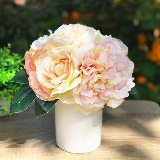 Enova Home Champagne Silk Peony and Rose Mixed Flower Arrangement in White Ceramic Vase -  champagne