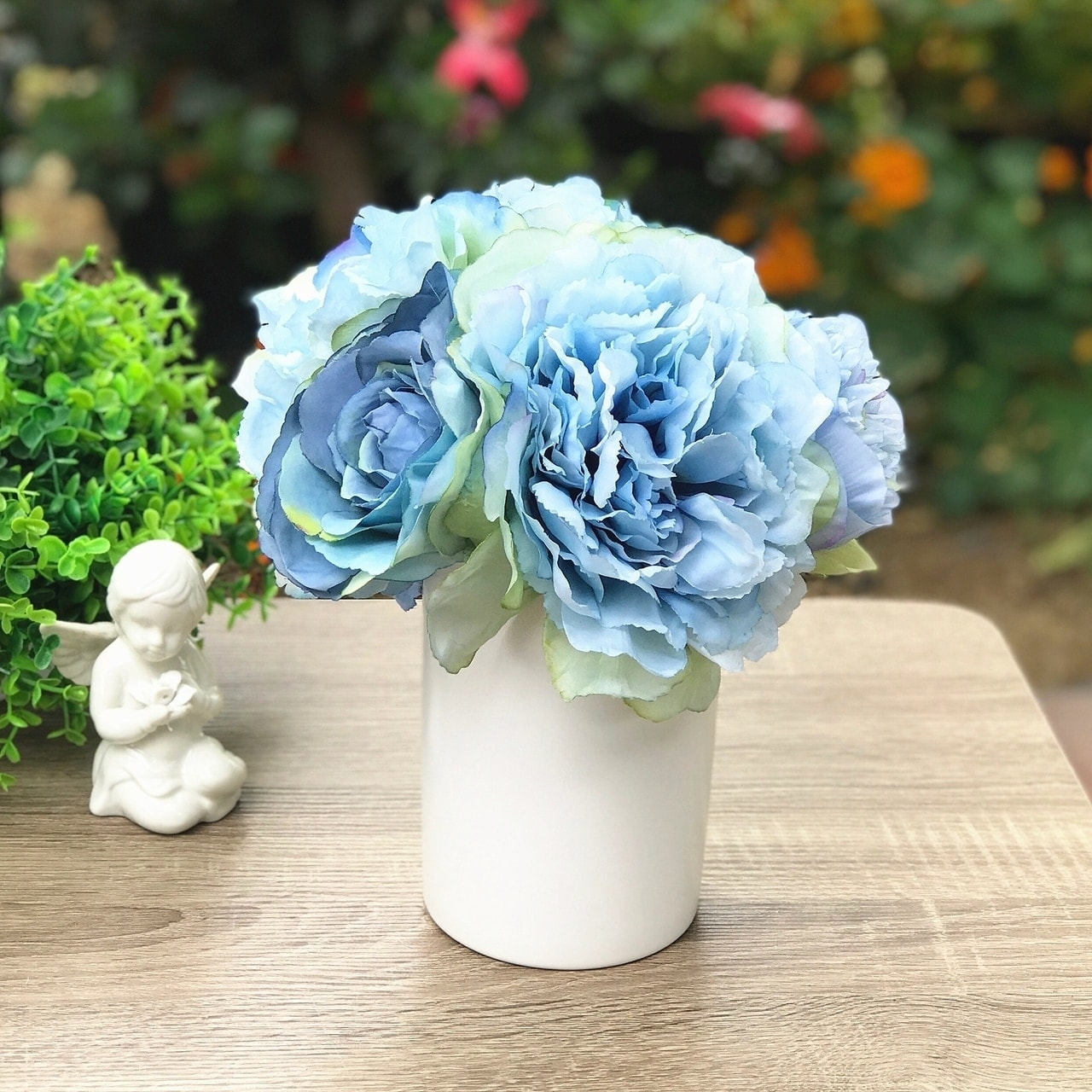 Enova Home Blue Silk Peony And Rose Mixed Flower Arrangement In White Ceramic Vase Overstock 28226160