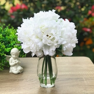 Enova Home White Silk Peony Flower Arrangement in Clear Glass Vase With Faux Water