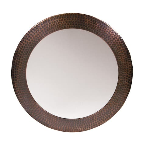 Solid Hammered Copper Framed Round Mirror by The Copper Factory