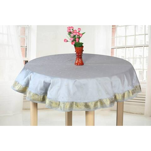 Light Gray - Handmade Sari Tablecloth (India) - Round