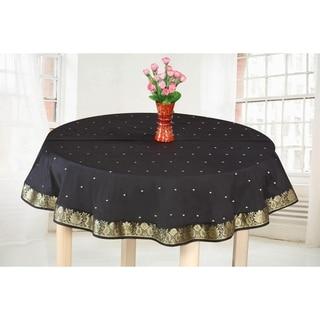 Black Gold - Handmade Sari Tablecloth (India) - Round