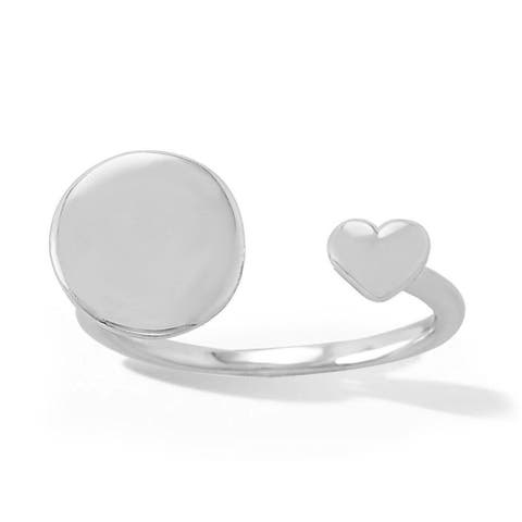 Sterling Silver Engravable Round Disc Open Promise Ring with Heart