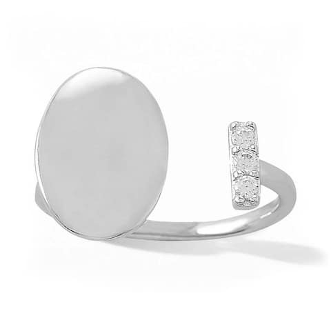 Sterling Silver Engravable Oval Disc Open Ring with 3 Stone CZ Bar