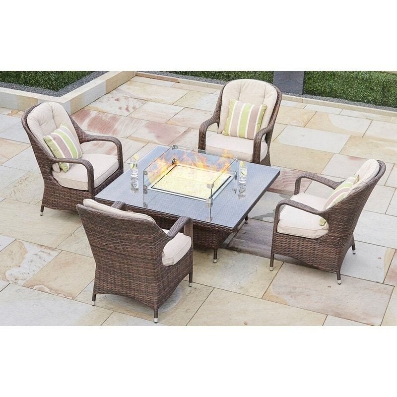 5 Piece Wicker Gas Fire Pit Patio Set Square Table With Chairs By Moda Furnishings