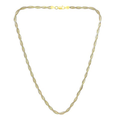 Handmade Two-Tone Gold-Plated and Sterling Silver Twisting Rope Chain Necklace (Thailand)