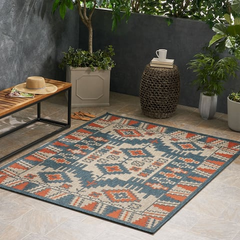 Ellenton Outdoor Southwest Fabric Blue and Rust Area Rug by Christopher Knight Home