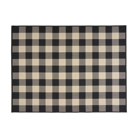 Crossroads Outdoor Check Fabric Black and Ivory Area Rug by Christopher Knight Home