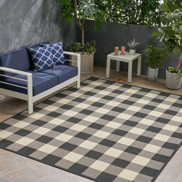 Christopher Wynter Art Rug Ivory: Shop Crossroads Outdoor Check Fabric Black And Ivory Area
