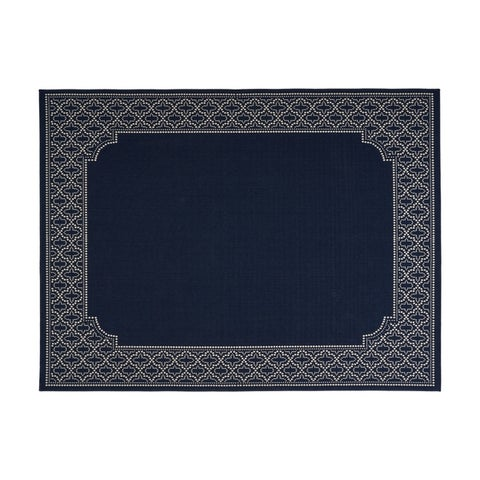 Midnight Outdoor Border Fabric Navy and Ivory Area Rug by Christopher Knight Home