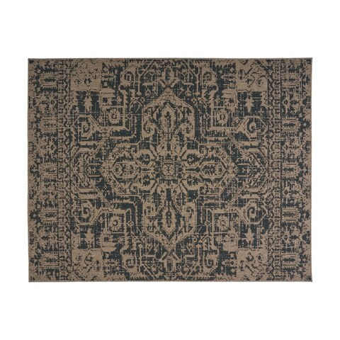 Collier Outdoor Medallion Fabric Tan and Blue Area Rug by Christopher Knight Home