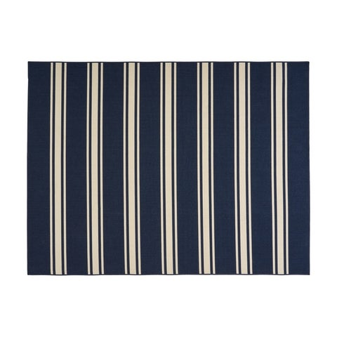 Cabana Outdoor Stripe Fabric Navy and Ivory Area Rug by Christopher Knight Home