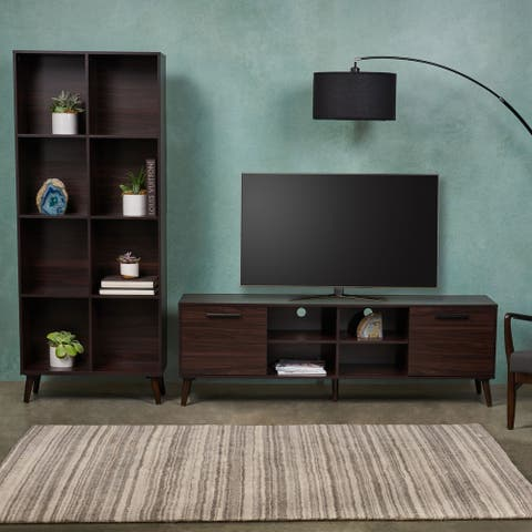 Christopher Knight Home Doneva 2-piece Mid-century Faux Wood and Rubber Wood Entertainment Center Set