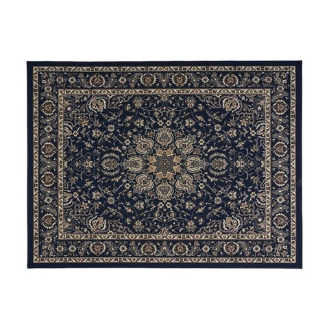 Palmetto Outdoor Oriental Fabric Navy and Gray Area Rug by Christopher Knight Home