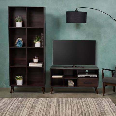 Christopher Knight Home Dorian 2-piece Mid-century Faux Wood and Rubber Wood Entertainment Center Set