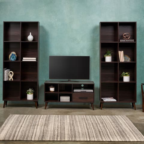 Christopher Knight Home Dorian 3-piece Mid-century Faux Wood and Rubber Wood Entertainment Center Set
