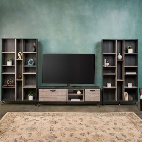 Bramhall 3-pc. Grey Faux Wood Entertainment Center Set by Christopher Knight Home