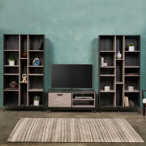 Christopher Knight Home Bijan Grey Oak-finish Faux Wood 3-piece Mid-century Modern Entertainment Center Set