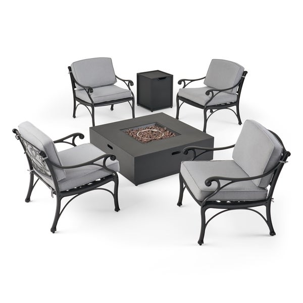 Bon Sunshine Outdoor 4 Seater Aluminum Club Chair Set With Fire Pit By  Christopher Knight Home