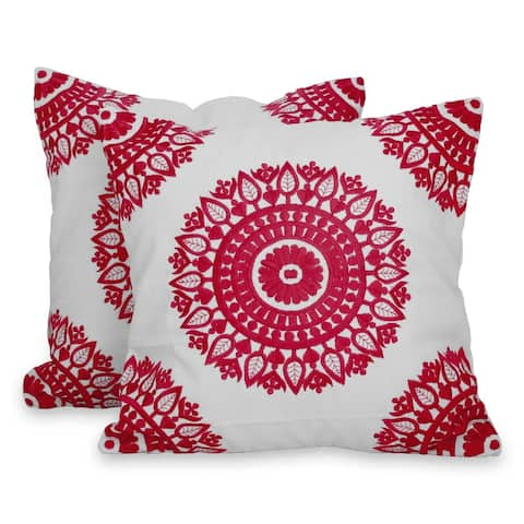 Handmade Hot Pink Mandalas Cotton cushion covers (pair) (India)