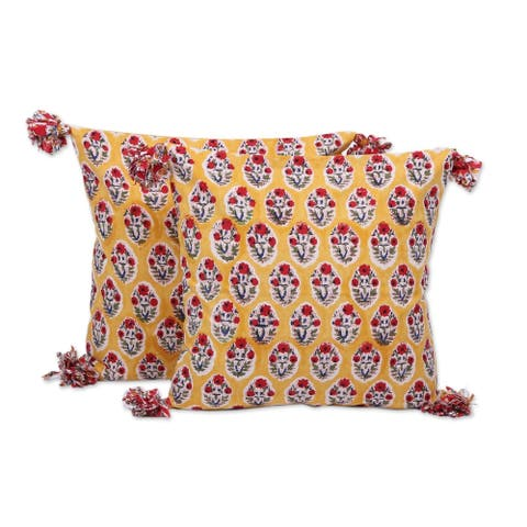 Handmade Floral Oasis in Ochre Cotton cushion covers (pair) (India)