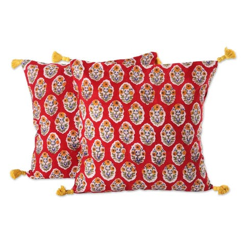 Handmade Floral Oasis in Crimson Cotton cushion covers (India)
