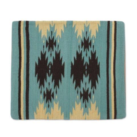 Handmade Sea Green GeometryZapotec wool cushion cover (Mexico)