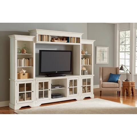 Progressive Charleston Distressed White Wood 4-piece Complete Wall Unit