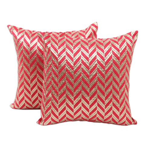 Handmade Elegant Chevron Embroidered cushion covers (pair) (India)