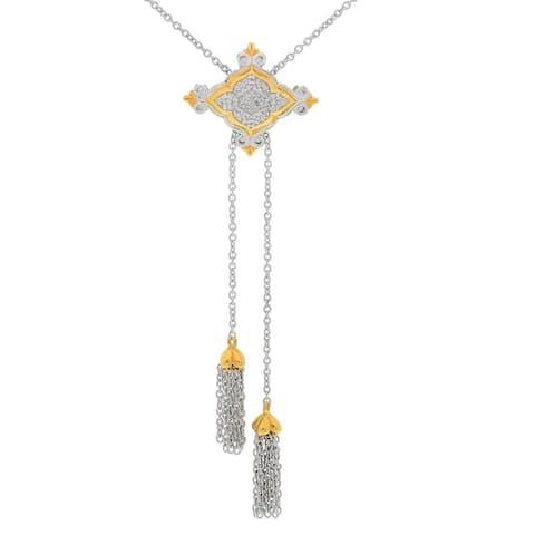 Gems en Vogue Palladium Silver Diamond Cluster Adjustable Bolo Necklace
