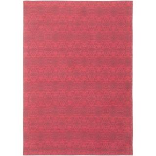 ECARPETGALLERY Handmade Collage Red Chenille Rug - 4'8 x 6'9