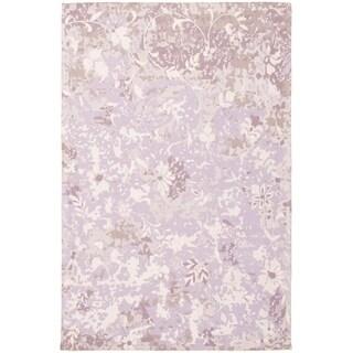 ECARPETGALLERY Handmade Collage Ivory, Purple Chenille Rug - 5'3 x 7'11