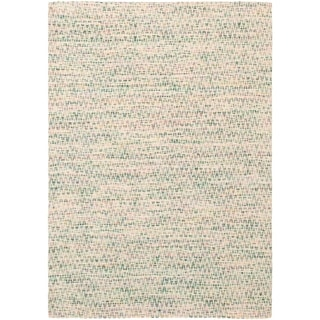 ECARPETGALLERY Handmade Collage Green, Ivory Chenille Rug - 5'2 x 7'6