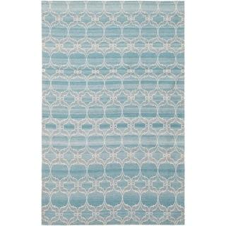 ECARPETGALLERY Handmade Collage Blue Chenille Rug - 5'1 x 8'0