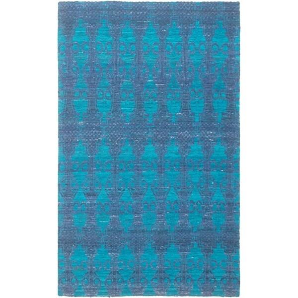ECARPETGALLERY Handmade Collage Dark Blue Chenille Rug - 4'11 x 7'11