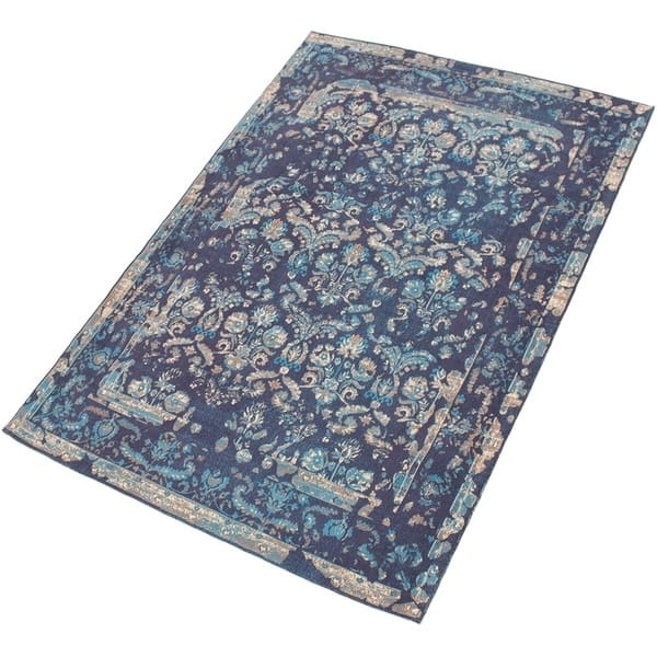 Collage Dark Blue Chenille Rug 5